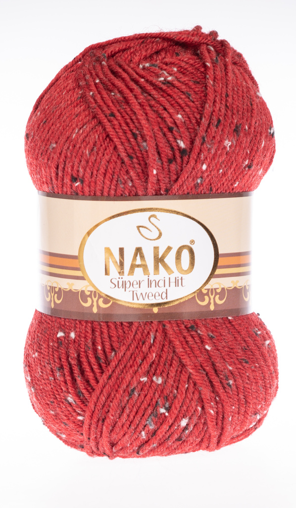 Strickgarn Super Inci Hit Tweed 1175 - rot - strickgarn nako hit tweed 1175