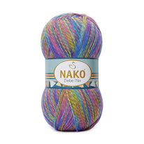 Knitting yarn Nako Bebe Mix 86841 - blue mélange