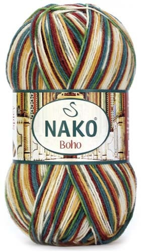 Knitting yarn Nako Boho  82442 - brown - Knitting yarn Boho  82442 - brown