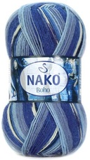 Knitting yarn Nako Boho 82450 - blue