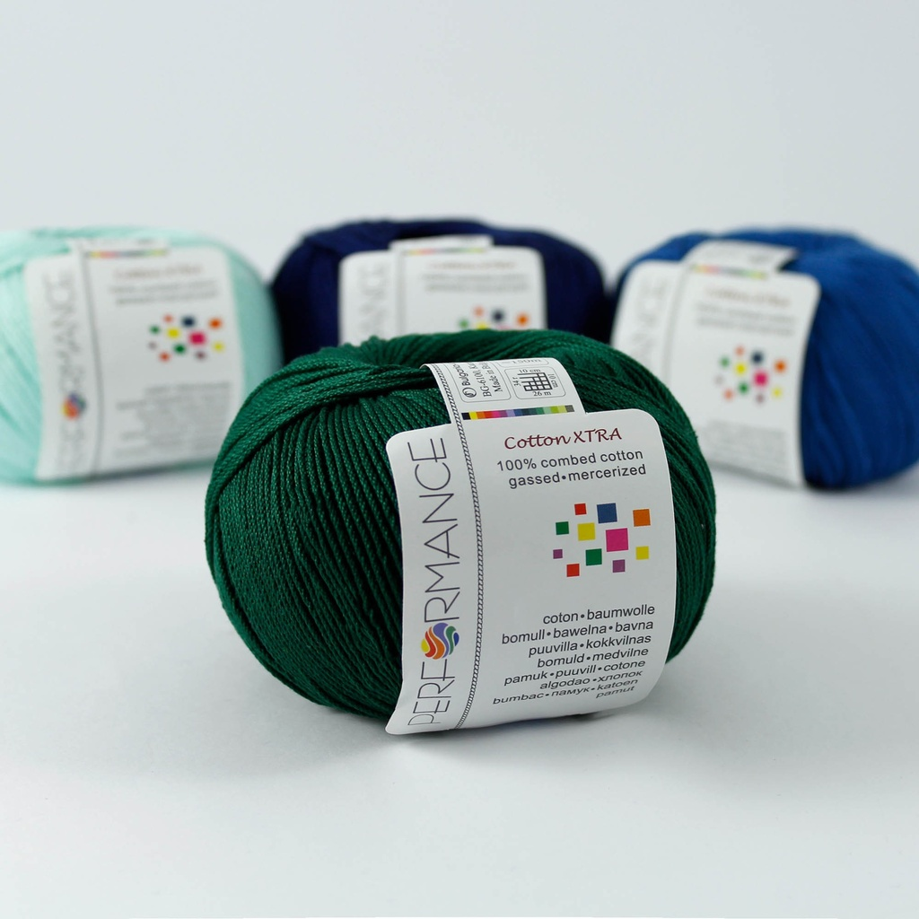 Cotton Xtra 157 - green 50g 150m - Cotton yarn Xtra 157 - green